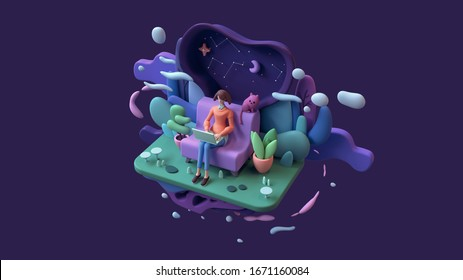 Brunette woman with a laptop sitting on a sofa late at night. Abstract concept art lazy sedentary lifestyle of young freelancer working from home with cat, plants. 3d illustration on purple background