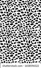 Brush Cheetah Animal Dots on Detailed Background with Trendy Fashion Colors Compatible fort Textile Allover Print And Wrapping Black White Gray Tones
