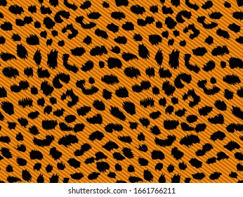 Brush Cheetah Animal Dots on Diagonal Stripes Seamless Pattern With Trendy Fashion Colors Perfect for Allover Prints Orange Background Black Spots