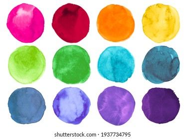 Brush Colorful Watercolor Circles. Set of Graphic Ink Rounds. Drawn Stains Background. Bright Watercolor Circles. Art Creative Bubble. Abstract Drops on Paper. Watercolor Circles.