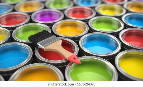 Brush and Paint cans color palette - 3d rendering