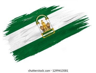 Brush painted Andalusia flag. Hand drawn style illustration