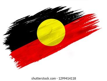 Brush painted Australian Aboriginal flag. Hand drawn style illustration