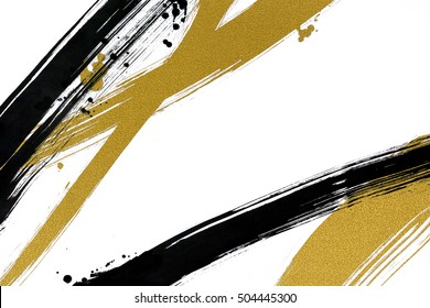 brush painted black and gold  line with drops on white background