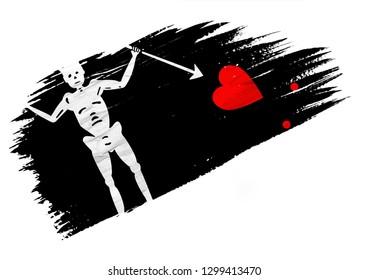Brush painted Blackbeard Pirate flag. Hand drawn style illustration