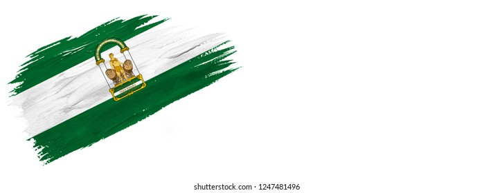 brush painted flag ,flag of Andalusia isolated on white background