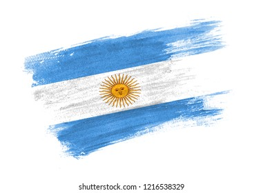 brush painted flag Argentina. Hand drawn style flag of Argentina