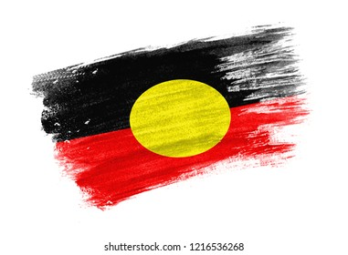 brush painted flag Australian Aboriginal. Hand drawn style flag of Australian Aboriginal