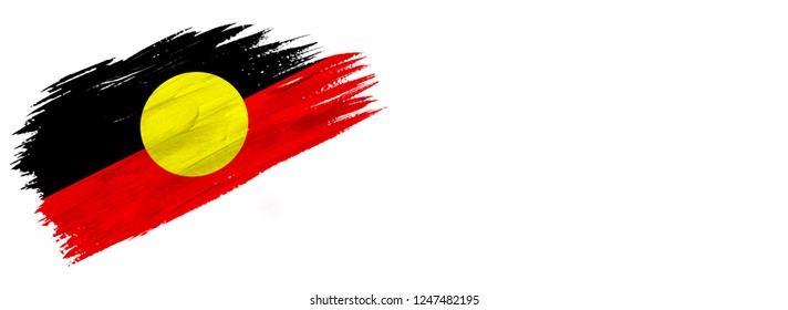 brush painted flag ,flag of Australian Aboriginal isolated on white background