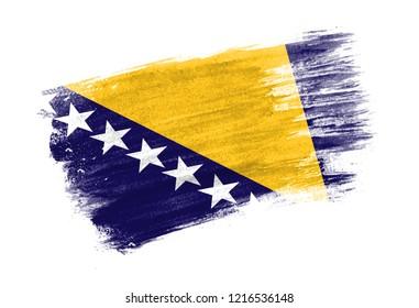 brush painted flag Bosnia and Herzegovina. Hand drawn style flag of Bosnia and Herzegovina