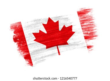 brush painted flag Canada. Hand drawn style flag of Canada