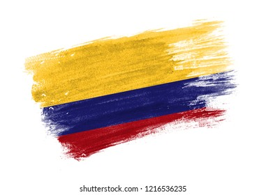 brush painted flag Colombia. Hand drawn style flag of Colombia