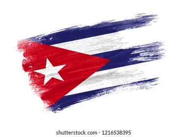brush painted flag Cuba. Hand drawn style flag of Cuba
