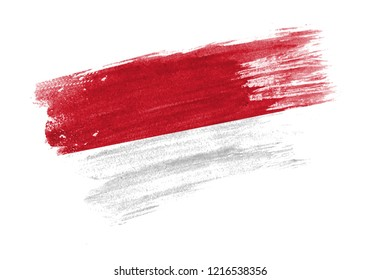 brush painted flag Indonesia. Hand drawn style flag of Indonesia