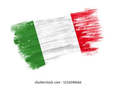 brush painted flag Italy. Hand drawn style flag of Italy