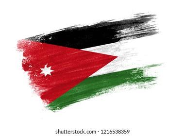 brush painted flag Jordan. Hand drawn style flag of Jordan