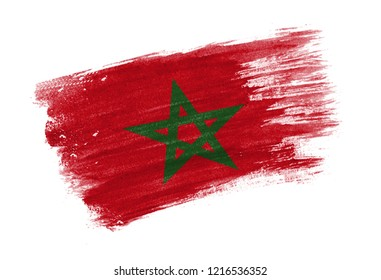 brush painted flag Morocco. Hand drawn style flag of Morocco