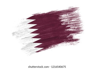 brush painted flag Qatar. Hand drawn style flag of Qatar