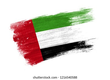 brush painted flag United Arab Emirates. Hand drawn style flag of United Arab Emirates