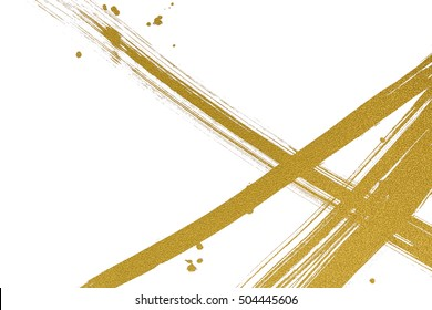 brush painted gold  line with drops on white background