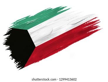 Brush painted Kuwait flag. Hand drawn style illustration