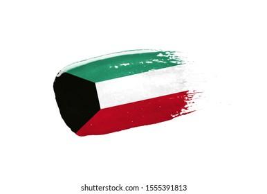 Brush painted Kuwait flag. Hand drawn style