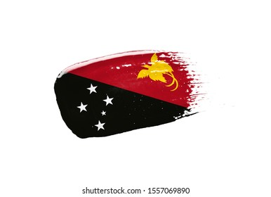 Brush painted Papua New Guinea flag. Hand drawn style