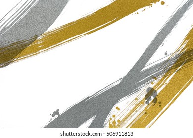 brush painted silver and gold  line with drops on white background