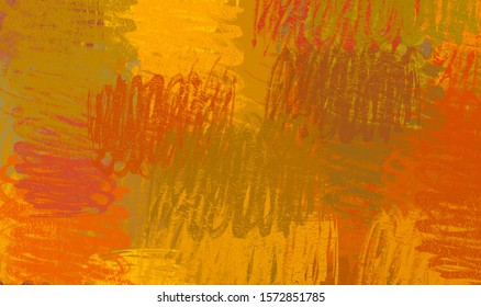Brush painting. Artistic canvas mix unique form. Oil on flat wall surface. 2d illustration. Texture backdrop wallpaper. Abstract modern art form.