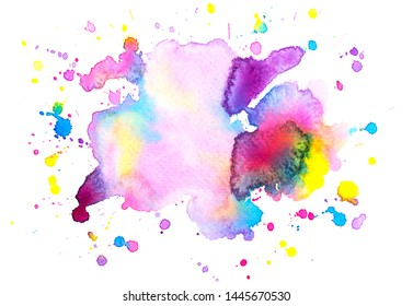 brush splashing color purple abstract watercolor background.