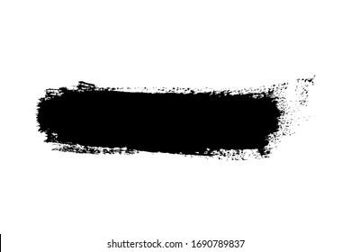 Brush stroke isolated on white background. Black paint brush. Grunge texture stroke line. Art ink dirty design. Border for artistic shape, paintbrush element. Brushstroke graphic illustration