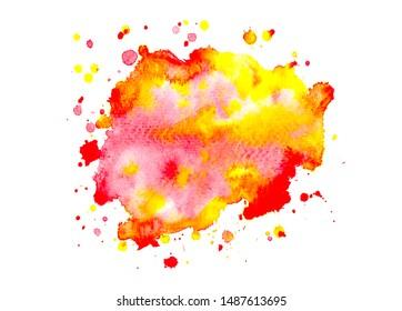 brush stroke red watercolor on paper for design creative illustration.