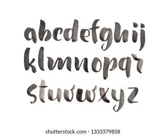 Brush Style Hand Drawn Alphabet watercolor Font. Calligraphy Custom Typography for Design Logo or Poster, Invitation, etc. Handwritten brush style modern cursive font isolated