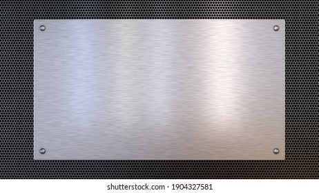 Brushed metal plate on perforated metal background texture. Aluminum, steel. 3d illustration