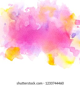 brushed shades pink and yellow watercolor background.space image