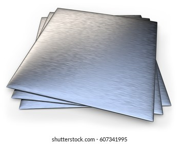 Brushed stainless steel isolated on white.3D rendering