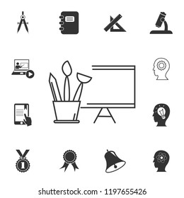 brushes and art easel icon. Detailed set of education element icons. Premium quality graphic design. One of the collection icons for websites, web design, mobile app on white background