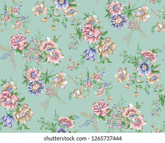 Brushstroke Flower and green   Background Design
