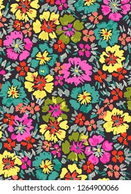 Brushstroke watercolor all over floral pattern with neon colors and a dark ground