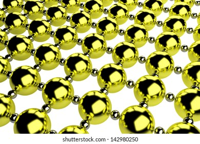 bstract metal lattice consisting of golden and steel balls isolated on white, diagonal perspective view