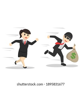 bsuiness woman secretary chasing a thief design character on white background