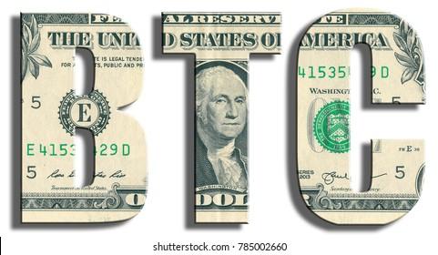 BTC, bitcoin. US Dollar texture.