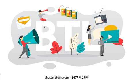 BTL or below the line communication with customer. Marketing strategy of product promotion. Direct offer to person. Isolated flat  illustration