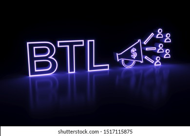 BTL neon concept self illumination background 3D illustration