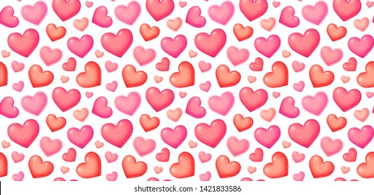 Bubble 3D style raster pink hearts on white background Valentines Day seamless pattern tile.