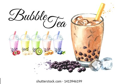 Bubble fruit Tea with Tapioca Pearls card. Food concept. Watercolor hand drawn illustration, isolated on white background