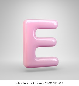 Bubble Gum pink letter E uppercase isolated on white background. 3D rendered alphabet. Modern font for advertising, poster, cover, lettering design template element.