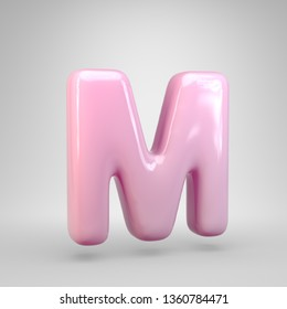 Bubble Gum pink letter M uppercase isolated on white background. 3D rendered alphabet. Modern font for advertising, poster, cover, lettering design template element.