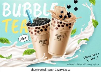 Bubble milk tea ads with delicious tapioca and splashing milk in 3d illustration