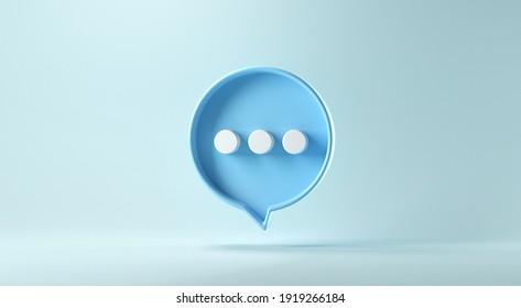 Bubble Ton- oder Kommentar-Symbol auf blauem Hintergrund. 3D-Rendering.